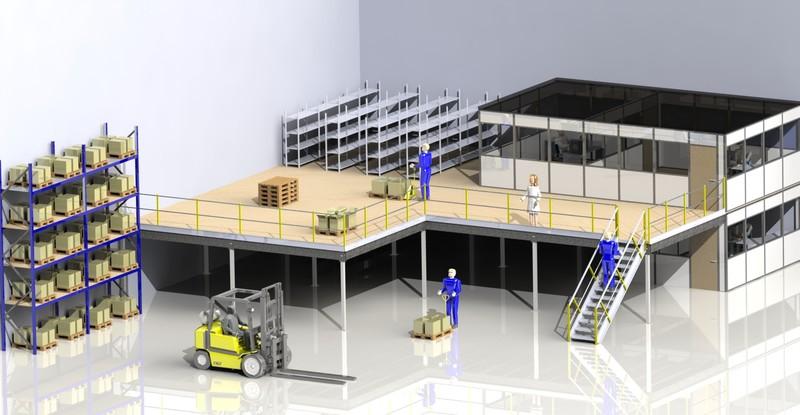 Mezzanine sur-mesure, construire plateforme métallique