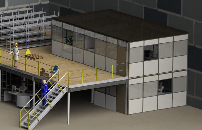Bureau d atelier sur mezzanine cabine sur plateforme