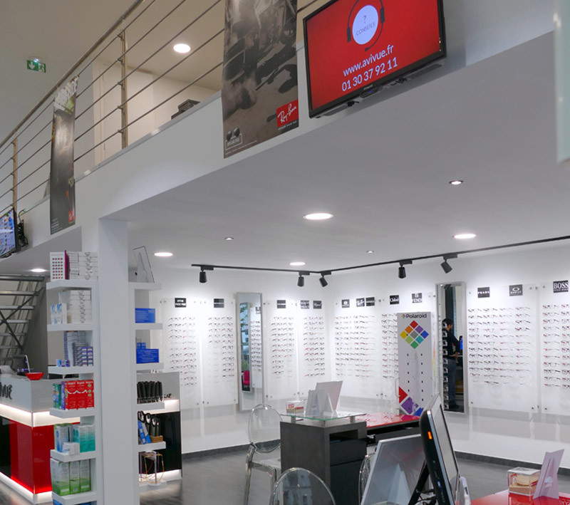Plateforme mezzanine magasin opticien