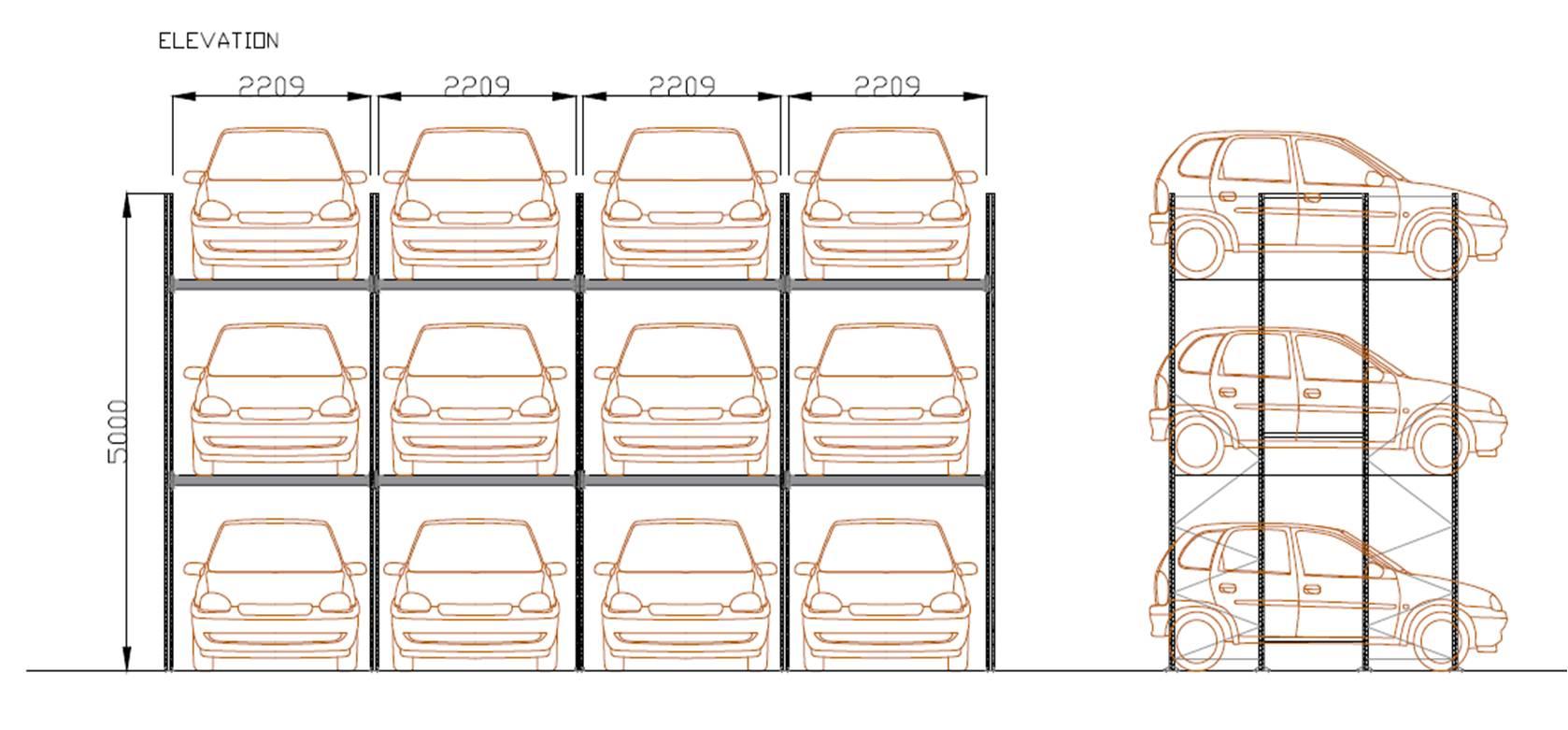 Schéma rayonnage voitures